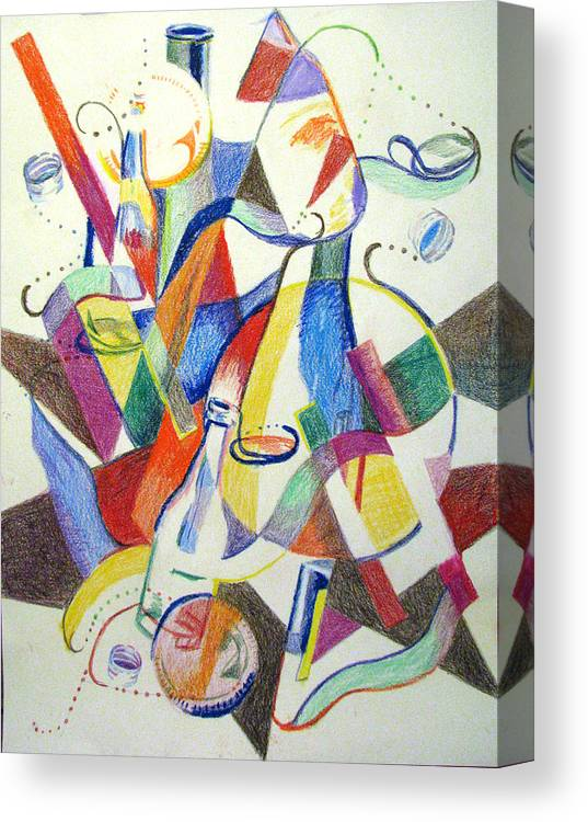 Cubism Canvas Print featuring the painting Party Bottles by Art Nomad Sandra Hansen