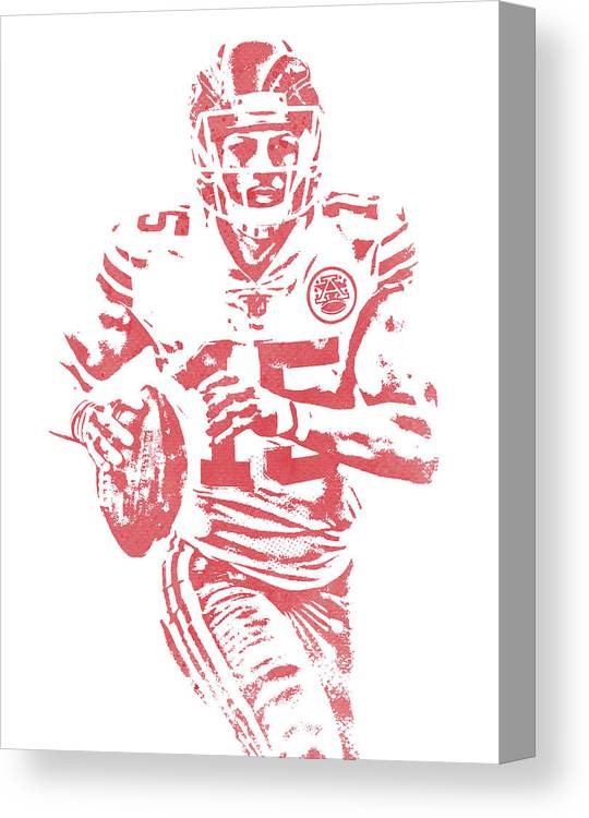 Patrick Mahomes Kansas City Chiefs Water Color Art 11 Canvas Print