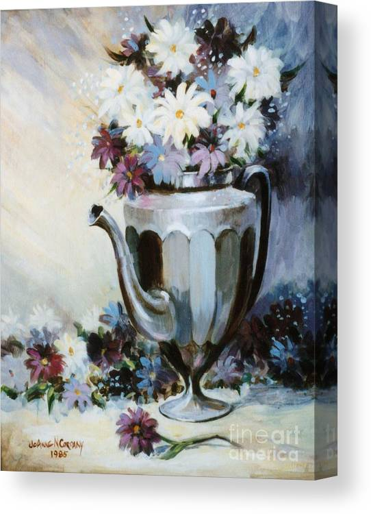 Pewter Canvas Print featuring the painting Pewter Coffee Pot And Daisies by JoAnne Corpany