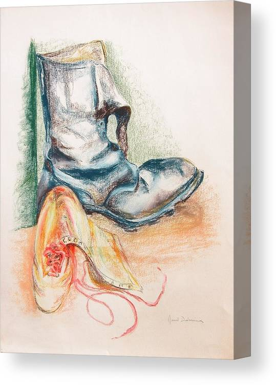 Still Life Canvas Print featuring the drawing Pompes by Muriel Dolemieux