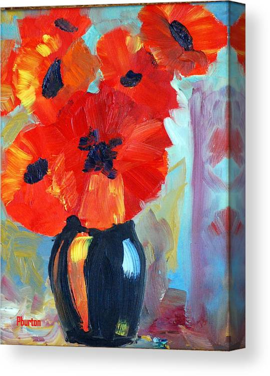 Poppy Canvas Print featuring the painting Poppy by Phil Burton