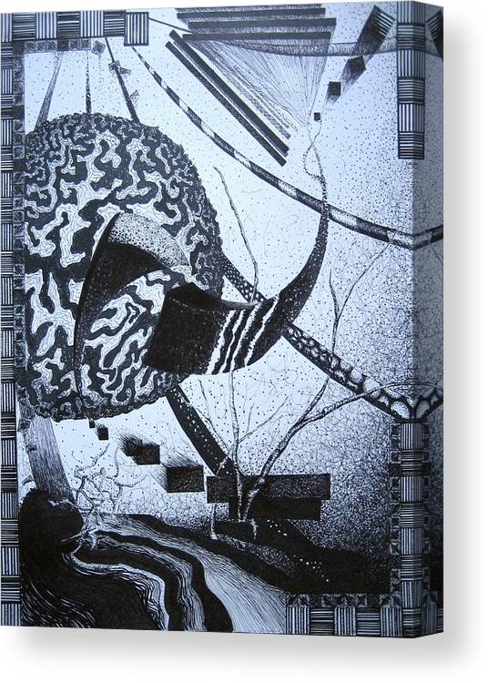 Abstract Canvas Print featuring the drawing Puzzled by Jessica De la Torre