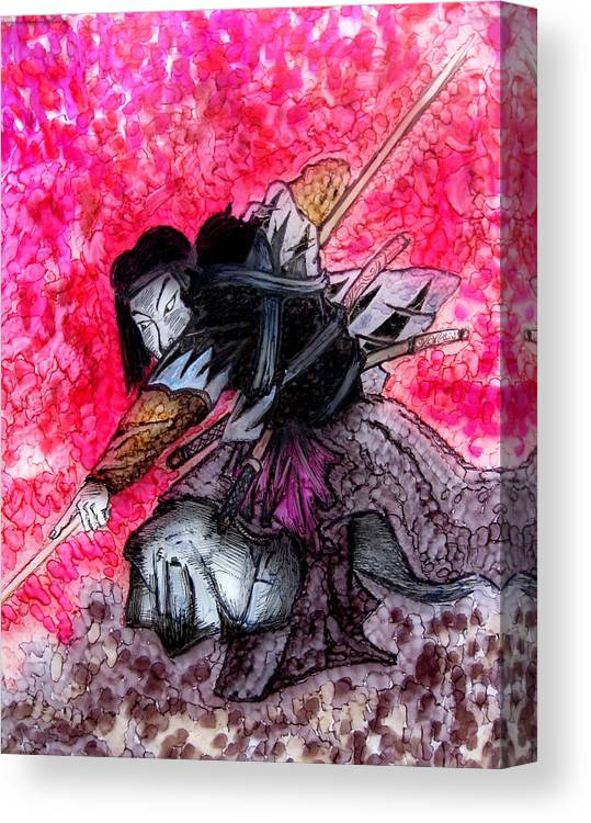 Painting Canvas Print featuring the painting Samurai by Jeff DOttavio