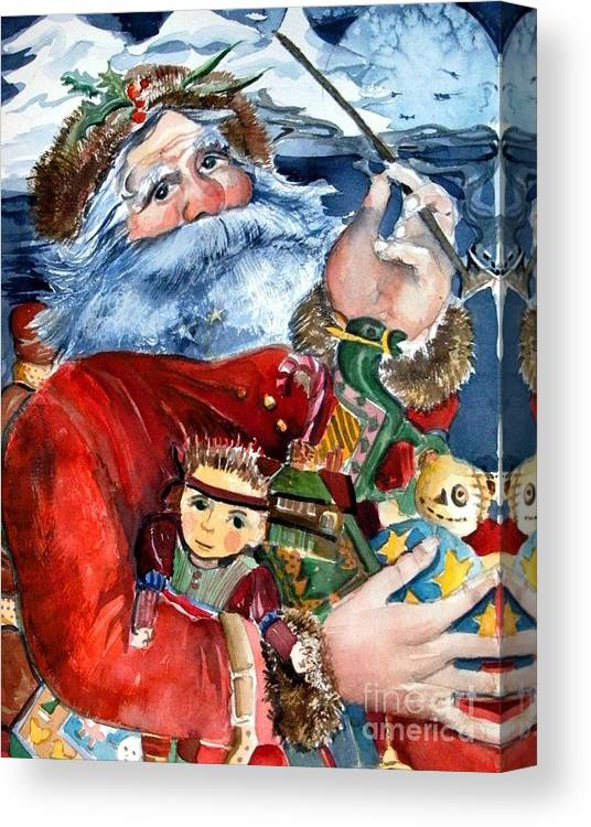 Christmas Canvas Print featuring the painting Santa by Mindy Newman