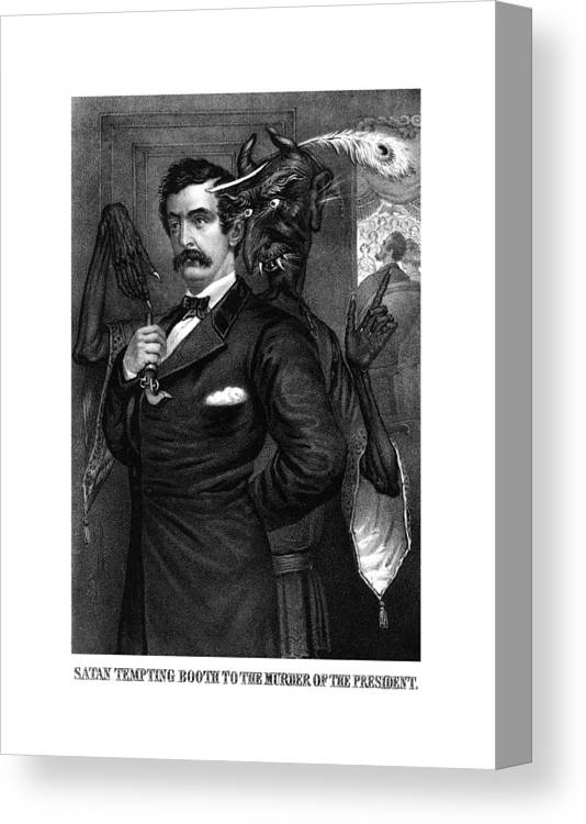 John Wilkes Booth Canvas Print featuring the drawing Satan Tempting John Wilkes Booth by War Is Hell Store