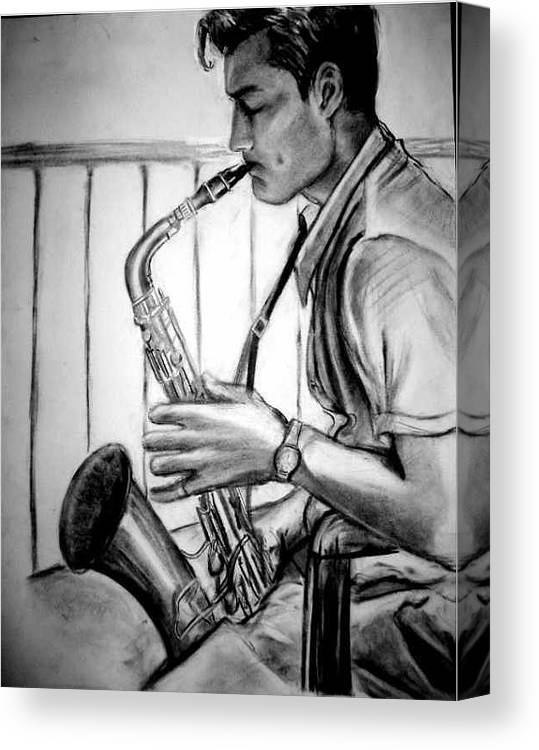 Handsome Man Canvas Print featuring the drawing Saxophone Player by Laura Rispoli