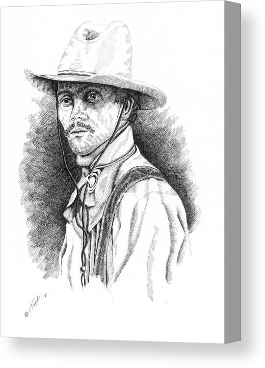Western Canvas Print featuring the drawing Slim by Lawrence Tripoli
