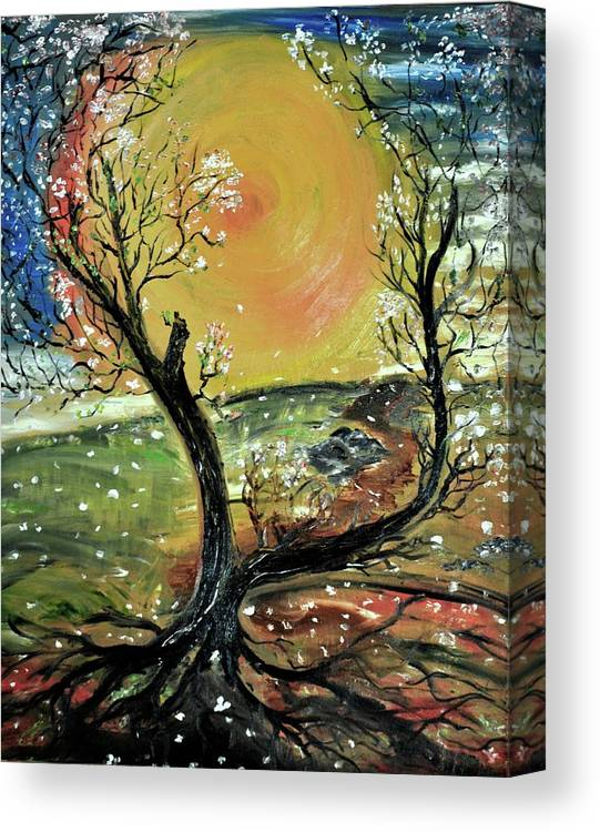 Tree Canvas Print featuring the painting Springtime 2 by Evelina Popilian