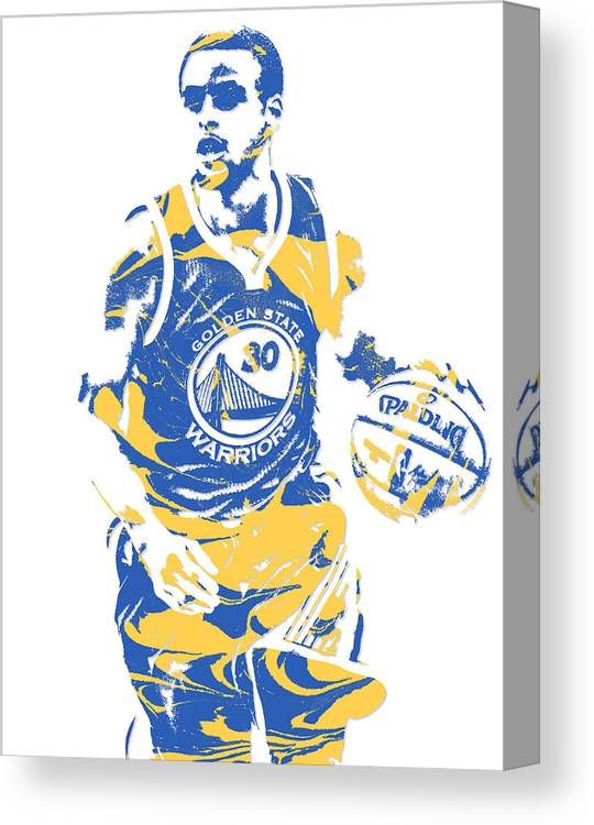 Stephen Curry Canvas Print featuring the mixed media Stephen Curry Golden State Warriors Pixel Art 21 by Joe Hamilton