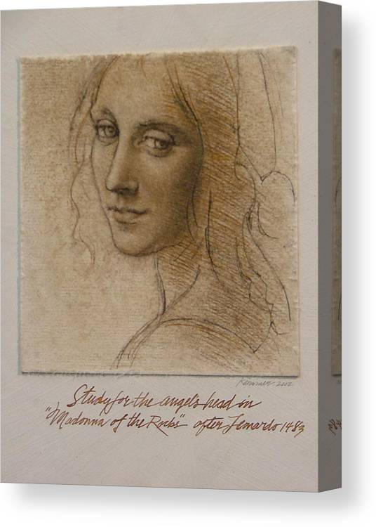 Female Figure Canvas Print featuring the painting Study Madona Of The Rocks After Leonardo by Gary Kaemmer