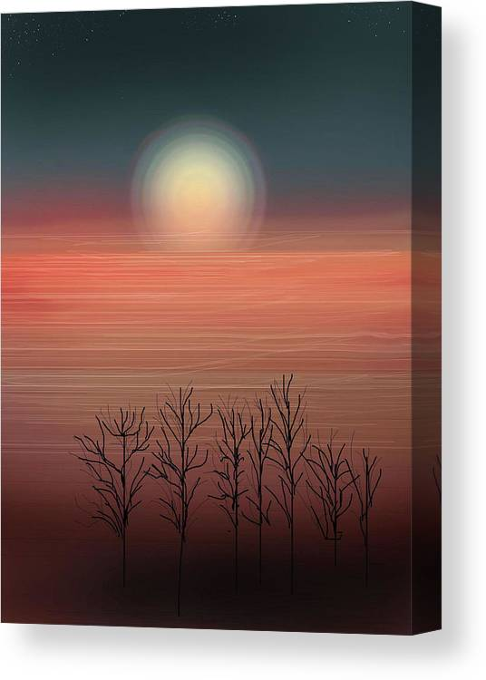 Sunset Canvas Print featuring the painting Sun Going To Bed by Anne Norskog