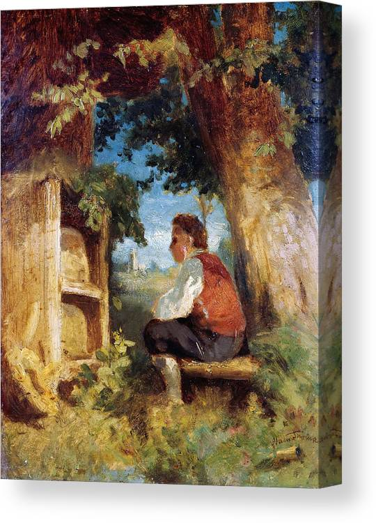 Hans Thoma Canvas Print featuring the painting The Bee Friend by Hans Thoma