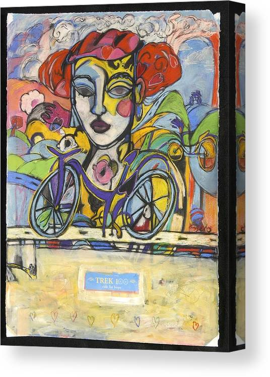 Bicycle Canvas Print featuring the drawing the Messenger by Mykul Anjelo