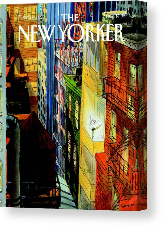 City Canvas Print featuring the photograph The New Yorker Cover - September 20th, 1993 by Jean-Jacques Sempe