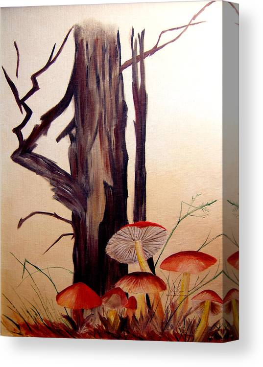Tree Canvas Print featuring the print Tree And Mushrooms by JoLyn Holladay