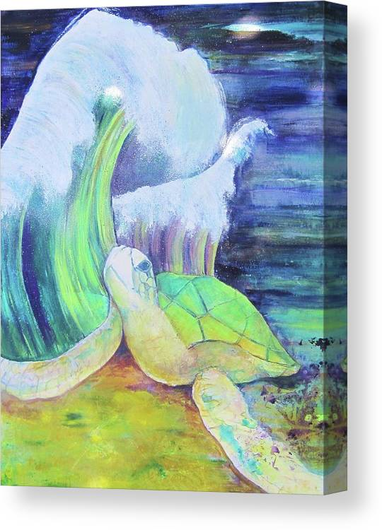 This Painting Depicts The Sea Turtle About To Be Overwhelmed By An Ominous Wave. Inspired By The Devastation Of The Sea Turtle In The Gulf Of The Usa. Rendered In Golds Canvas Print featuring the painting Tribute To The Sea Turtle by Georgia Annwell