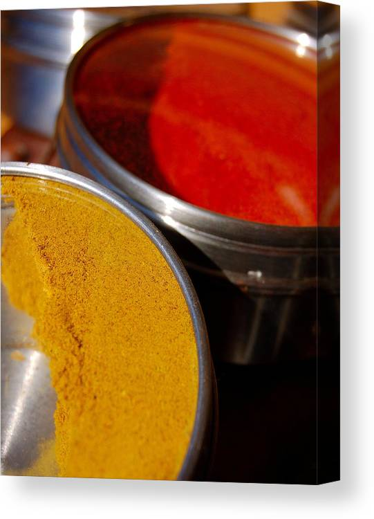 Food Canvas Print featuring the photograph Tumeric And Cayanne Pepper by Heather S Huston