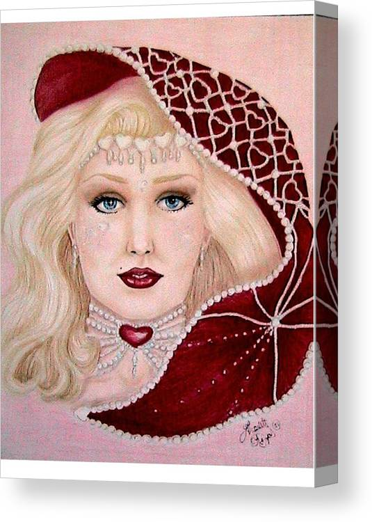 Portrait Canvas Print featuring the drawing Valentine by Scarlett Royal