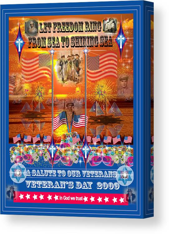 Patriotic Canvas Print featuring the digital art Veteran's Day by George Pasini
