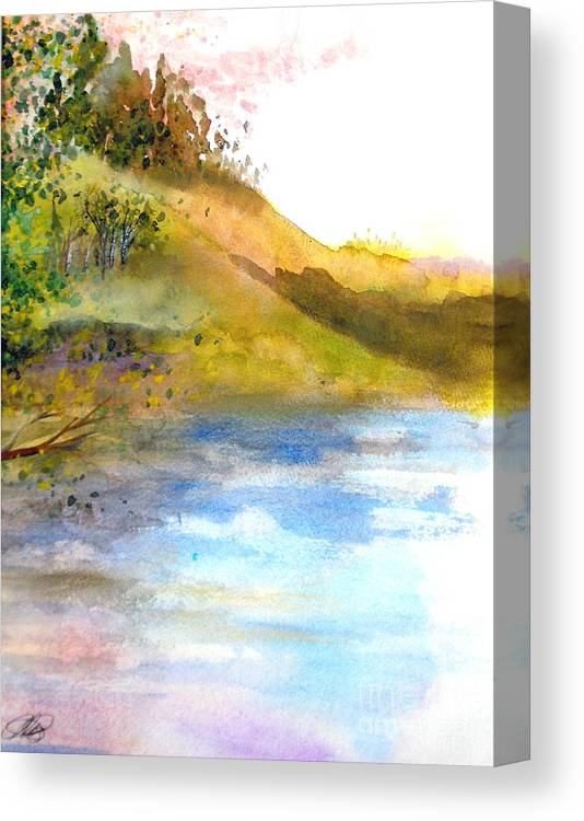 Landscape Canvas Print featuring the painting Waters Edge by Vi Mosley