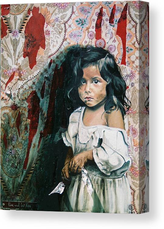 Asian Girl Canvas Print featuring the painting What Is My Worth by Teresa Carter