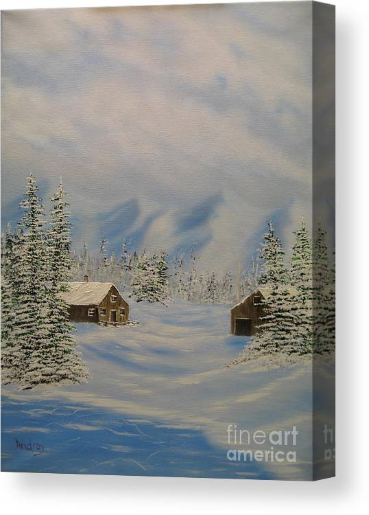 Mountains Canvas Print featuring the painting Winters Beauty by Todd Androy