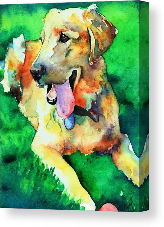 Yellow Lab Canvas Print featuring the painting Yellow Labrador by Christy Freeman Stark