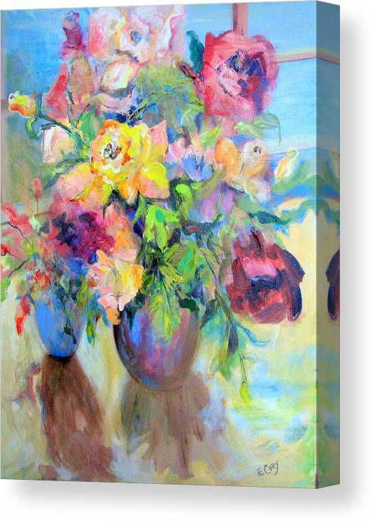 Floral Canvas Print featuring the painting Yellow Rose by Elaine Cory