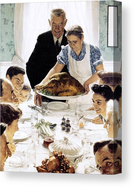 Family Canvas Print featuring the drawing Freedom From Want 1 by Norman Rockwell