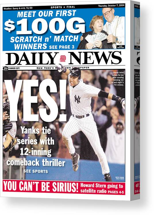 American League Baseball Canvas Print featuring the photograph Daily News Front Page Derek Jeter 2 by New York Daily News