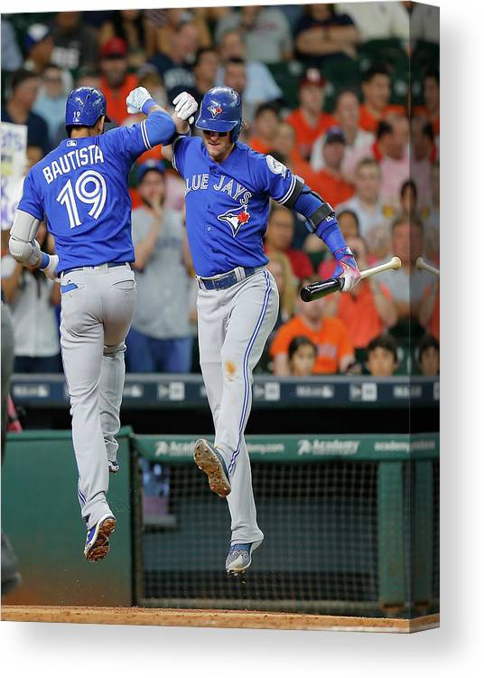People Canvas Print featuring the photograph Toronto Blue Jays V Houston Astros 2 by Bob Levey