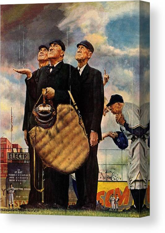 Baseball Canvas Print featuring the drawing Bottom Of The Sixth by Norman Rockwell