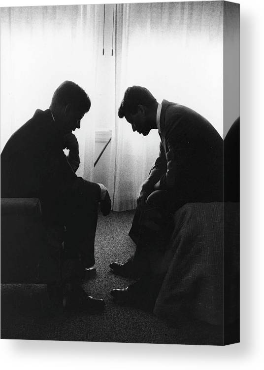 Timeincown Canvas Print featuring the photograph John Kennedy Confers With Robert Kennedy by Hank Walker