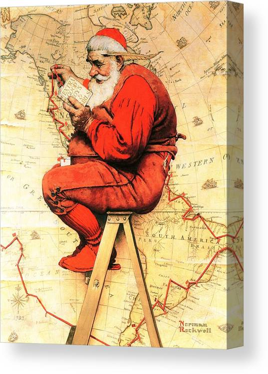 Christmas Canvas Print featuring the drawing Santa At The Map by Norman Rockwell