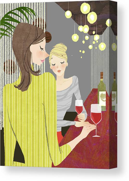 People Canvas Print featuring the digital art Two Woman With Wine At Bar Counter by Eastnine Inc.