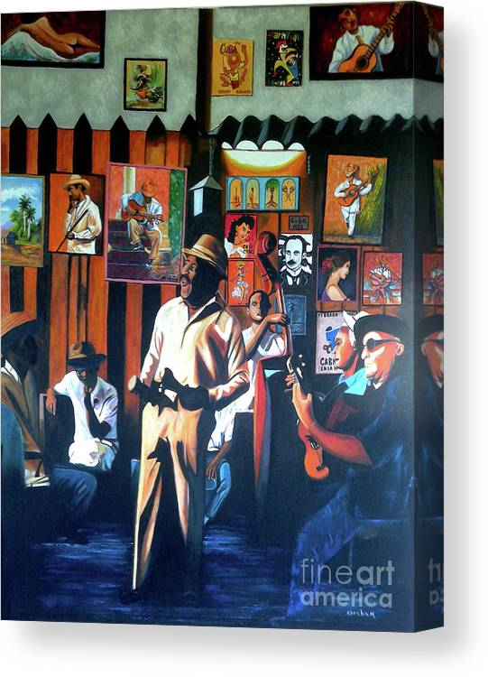 Bar Canvas Print featuring the painting Uncle Bar by Jose Manuel Abraham