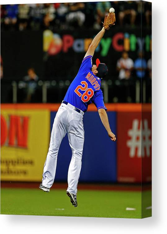 Ball Canvas Print featuring the photograph Elvis Andrus And Daniel Murphy by Rich Schultz