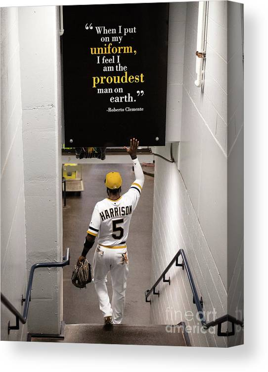 People Canvas Print featuring the photograph Josh Harrison And Roberto Clemente by Justin Berl
