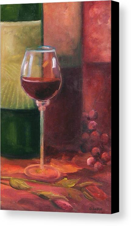 Wine Canvas Print featuring the painting Wine Glass by Gail Salitui