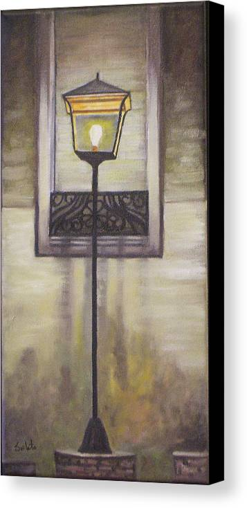 Landscape Canvas Print featuring the painting Street Lamp by Srilata Ranganathan