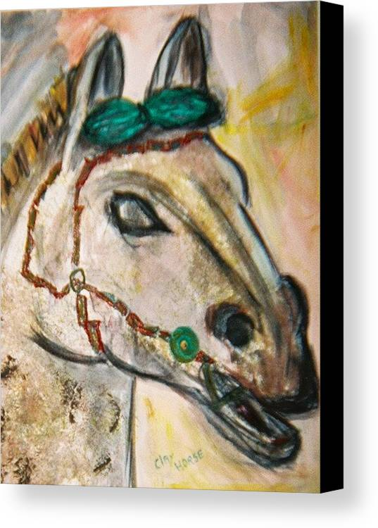 Horse Canvas Print featuring the painting Clay Horse by JuneFelicia Bennett