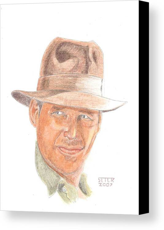 Indiana Jones Harrison Ford Canvas Print featuring the mixed media Indy by David Seter