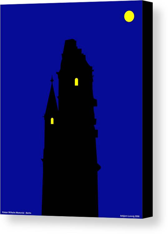Canvas Print featuring the digital art Kaiser Wilhelm Memorial Berlin Germany by Asbjorn Lonvig