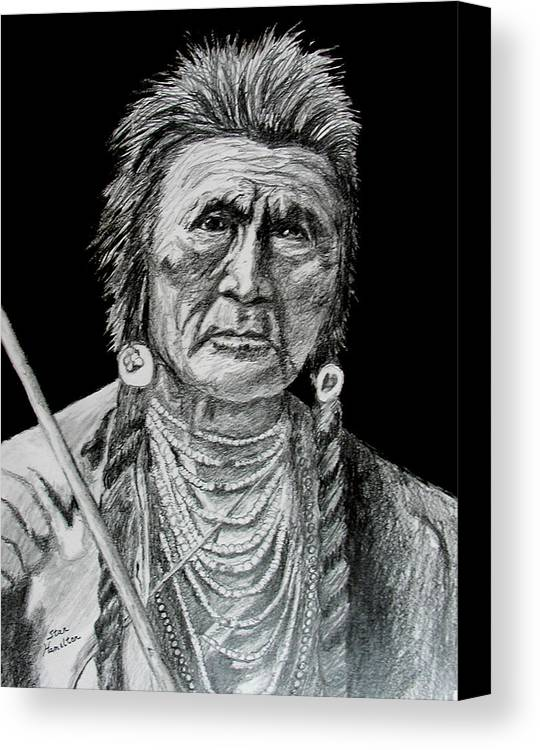 Portrait Canvas Print featuring the drawing Unknown Indian V by Stan Hamilton