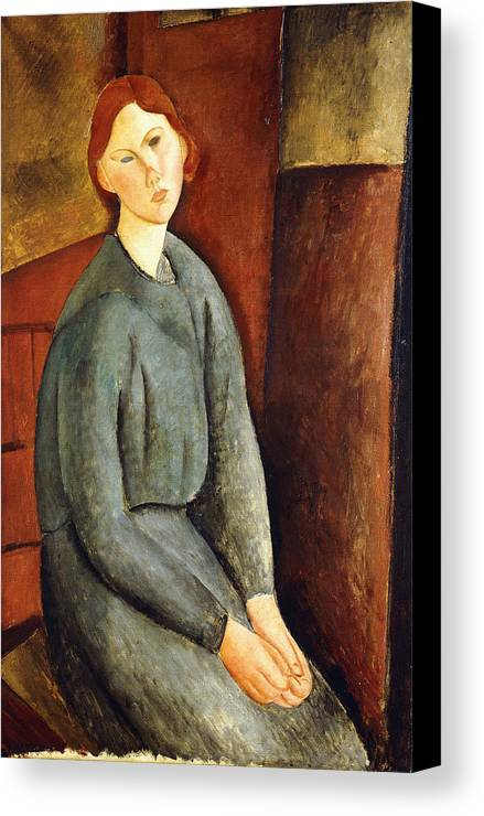 Amedeo Modigliani Canvas Print featuring the painting Portrait Of Annie Bjarne by Celestial Images