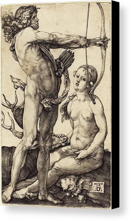 Albrecht Canvas Print featuring the drawing Albrecht Dürer German, 1471 - 1528, Apollo And Diana by Quint Lox
