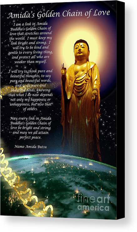 Amida Canvas Print featuring the painting Amida's Golden Chain Of Love by Seas Reflecting Starlight