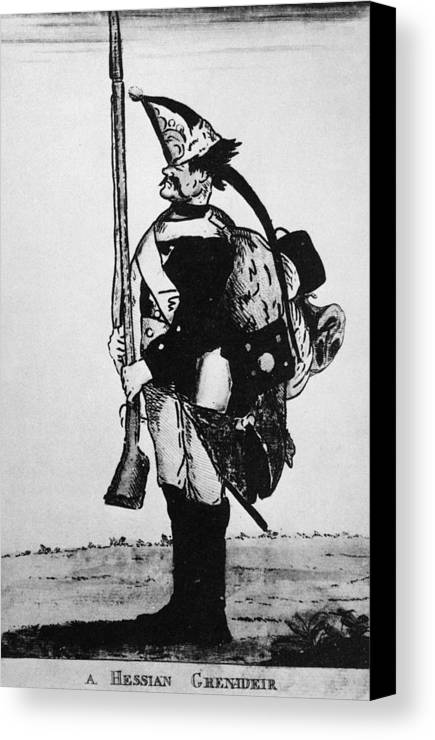 18th Century Canvas Print featuring the photograph Cartoon: Hessian Soldier by Granger
