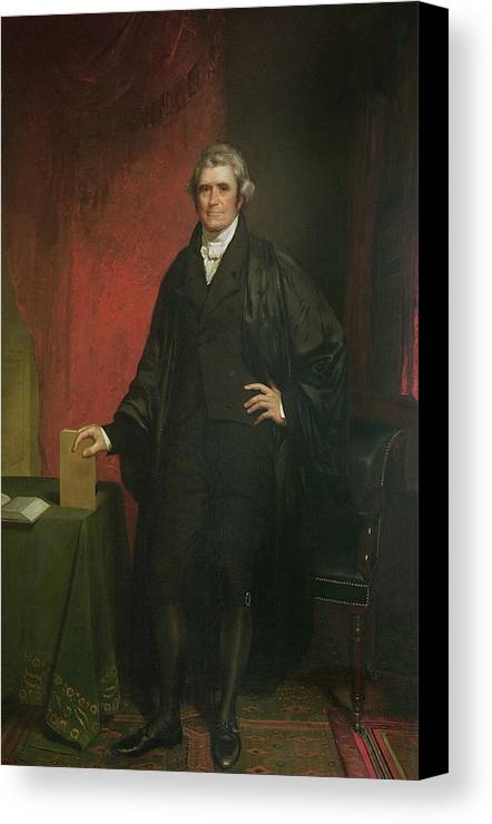 Portrait Canvas Print featuring the painting Chief Justice Marshall by Chester Harding