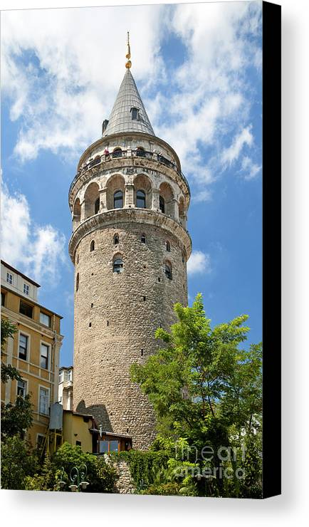 Attraction Canvas Print featuring the photograph Galata Tower Landmark In Istanbul Turkey by Jacek Malipan